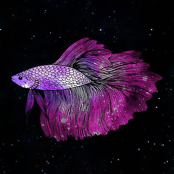 Pink Betta Fish Galaxy by julieerindesign