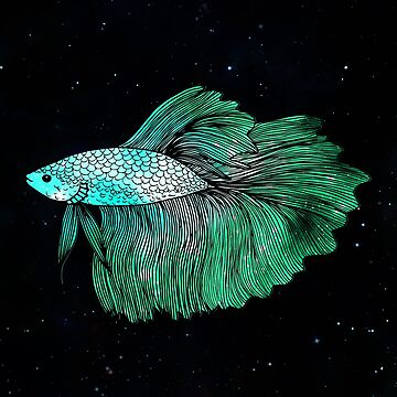 Green Betta Fish Galaxy by julieerindesign