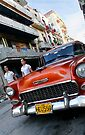 Old Chevy Street scene, Havana, Cuba by David Carton