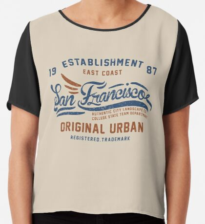 San Francisco Vintage Hand Lettering College Chiffon Top