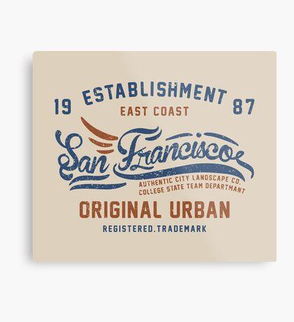 San Francisco Vintage Hand Lettering College Metal Print