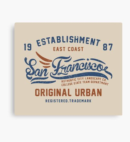 San Francisco Vintage Hand Lettering College Canvas Print