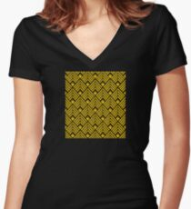 3-D Gold Art Deco Art Décoratif Pattern Women's Fitted V-Neck T-Shirt