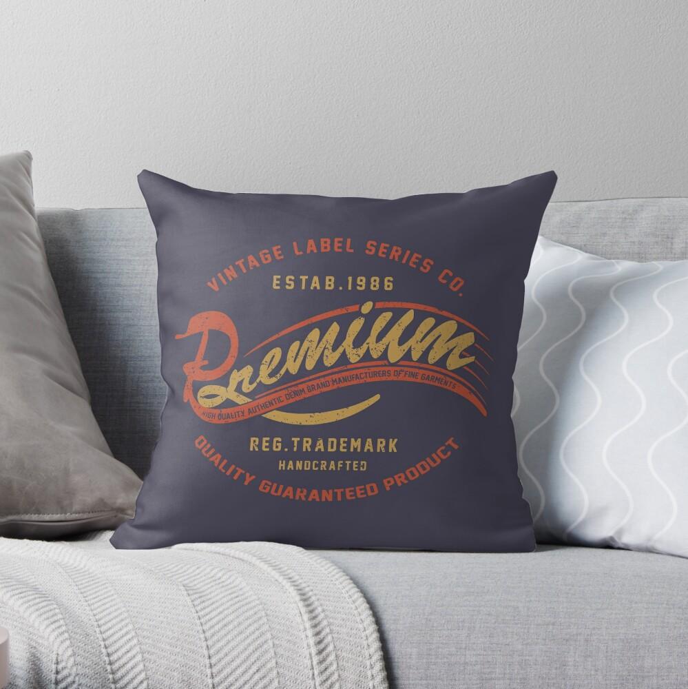 Premium Vintage Label Hand Lettering Throw Pillow