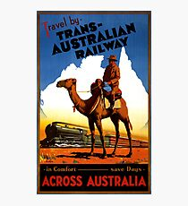 Australia Railway Vintage Travel Poster Photographic Print