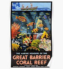 Großes Korallenriff-Weinlese-Plakat Australiens Poster