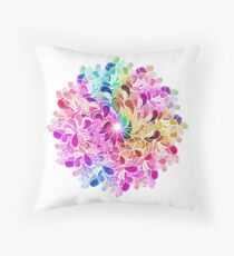 Rainbow Watercolor Paisley Flower Throw Pillow