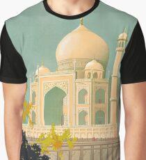 Taj Mahal Visit India Vintage Travel Poster Restored Graphic T-Shirt