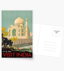 Postales Taj Mahal Visit India Vintage Travel Poster Restored