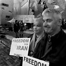 Demonstrators at Iranian Rally by Andrew  Makowiecki