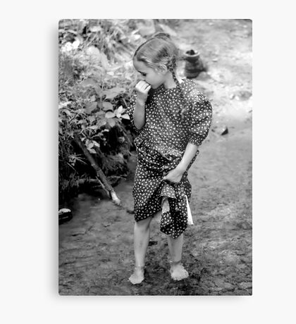 Mennonite Girl in a Stream Metal Print
