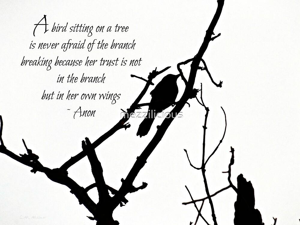 A Bird On A Branch - Inspirational  by mezzilicious