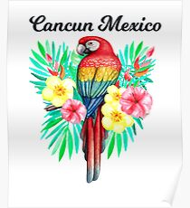 Cancun Mexico Beautiful Hand Drawn Tropical Parrot In Tropical Flowers /Foilage  Poster