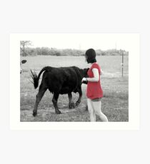Self-Portrait with Cow Art Print