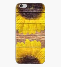 Vinilo o funda para iPhone Yellow Sunflowers Rustic Vintage Brown Wood