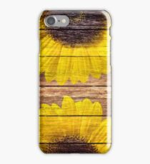 Yellow Sunflowers Rustic Vintage Brown Wood iPhone Case/Skin