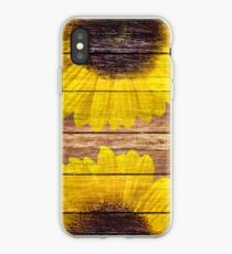 Yellow Sunflowers Rustic Vintage Brown Wood iPhone-Hülle & Cover