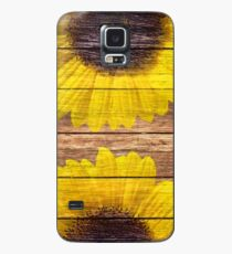 Yellow Sunflowers Rustic Vintage Brown Wood Case/Skin for Samsung Galaxy