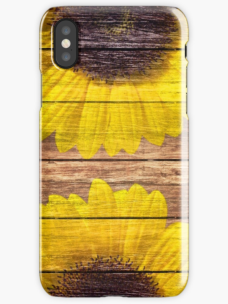 Yellow Sunflowers Rustic Vintage Brown Wood by GirlyTrend