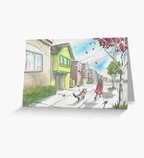 """""""A Girl and Her Dog"""" by Robin Galante Greeting Card"""