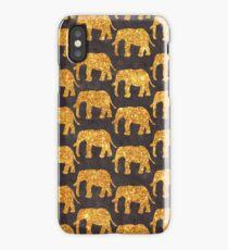 Whimsical Gold Glitter Elephants Pattern on Gray iPhone Case/Skin