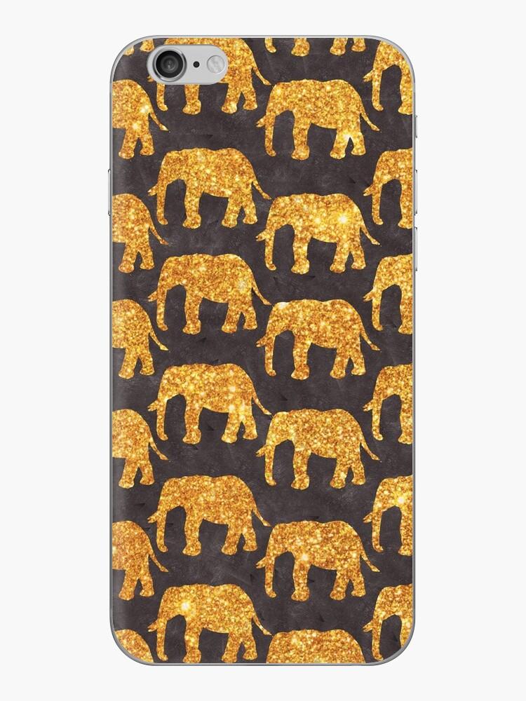 Wunderliches Goldfunkeln-Elefant-Muster auf Grau von GirlyTrend