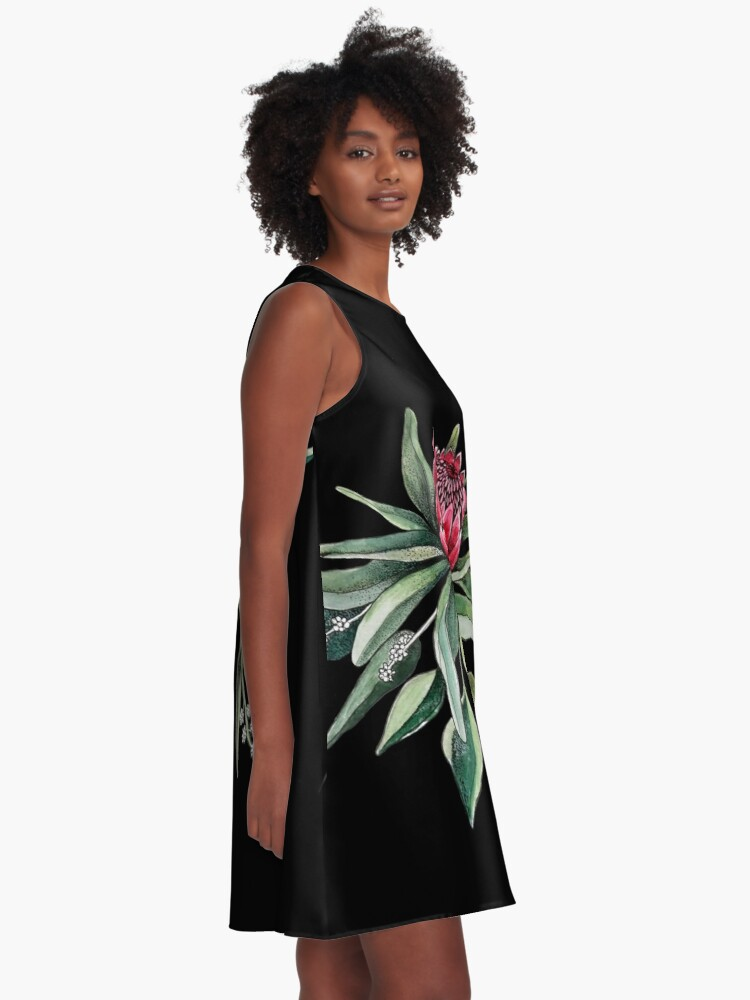 Alternate view of Protea watercolor A-Line Dress