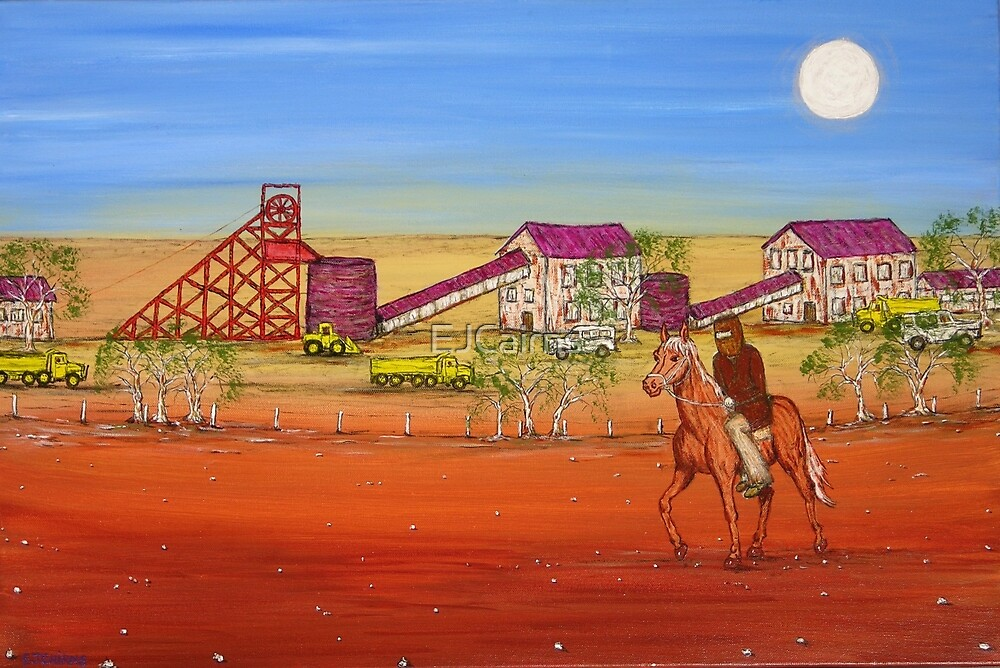 """""""Ned Kelly at the Gold Mine""""  Australia; Original  Sold by EJCairns"""
