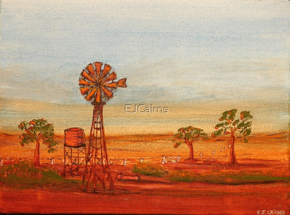 Australiana; (Red Sunset At The Windmill)  Original Sold  by EJCairns