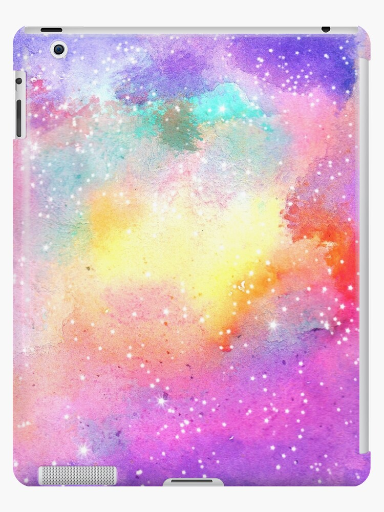 be7f1046aed9d 'Hand painted pastel watercolor nebula galaxy stars' iPad Case/Skin by  GirlyTrend