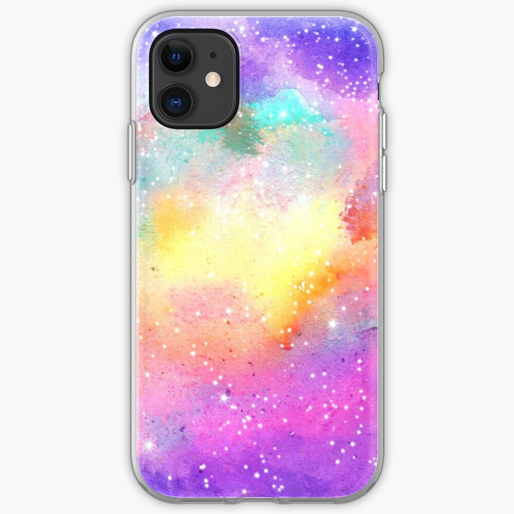 Hand painted pastel watercolor nebula galaxy stars iPhone Case & Cover