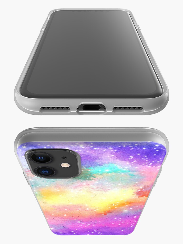Alternate view of Hand painted pastel watercolor nebula galaxy stars iPhone Case & Cover