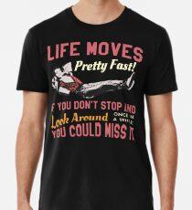 Speichern Sie Ferris-Zitat, bewegt sich das Leben ziemlich schnell, Highschool T-Shirt Entwurf Männer Premium T-Shirts