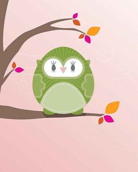 Sweet owl in a tree 3 by Kat Massard