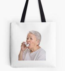Old Lady with Inhaler Tote Bag
