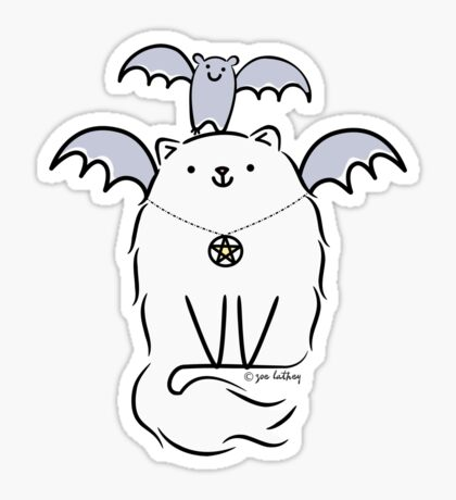 Fluffy White Witch's Cat with Bat Sticker