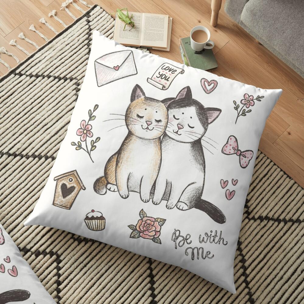 Gatos enamorados Cojines de suelo