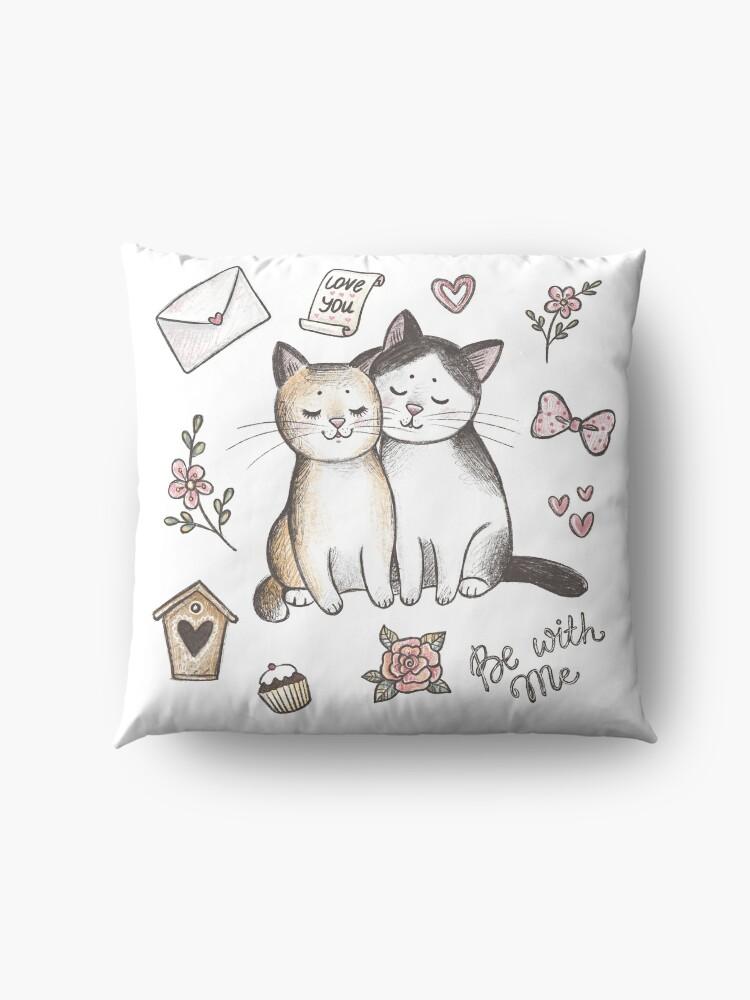 Vista alternativa de Cojines de suelo Gatos enamorados