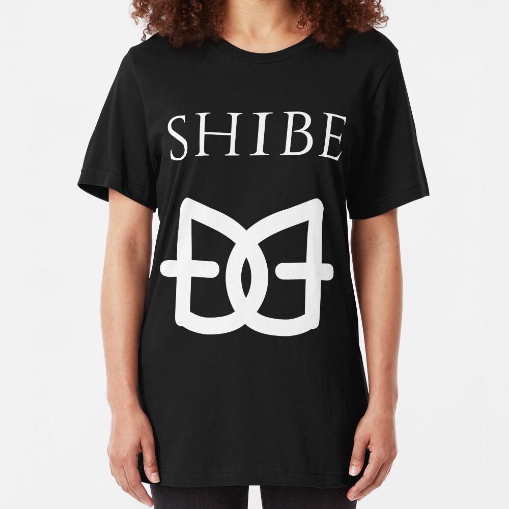 Shibe Dogecoin White on Black T-Shirt Slim Fit T-Shirt