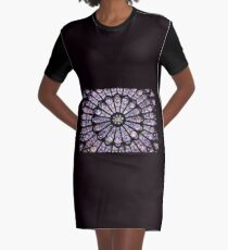 Notre-Dame Cathedral Stained Glass Graphic T-Shirt Dress
