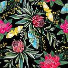 «Protea, flores tropicales y mariposa, polillas.» de MagentaRose