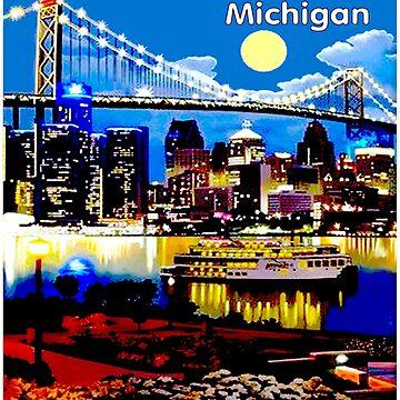 DETROIT; Werbung und Tourismus Advertisinjg Print von posterbobs