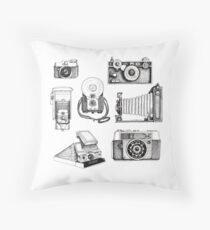 Vintage Camera Collection Throw Pillow