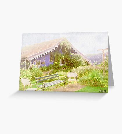 The blue cottage  Greeting Card
