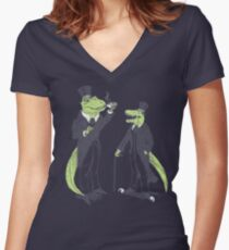 Tea Rex and Velo Sir Raptor Women's Fitted V-Neck T-Shirt