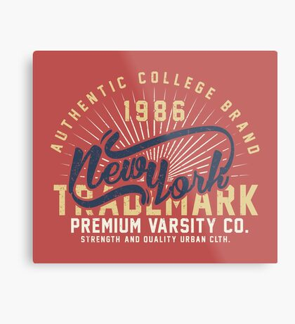 New York Vintage Hand Lettering College Design Metal Print