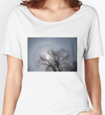 Sun Halo, Trees And Silver Gray Winter Sky Women's Relaxed Fit T-Shirt