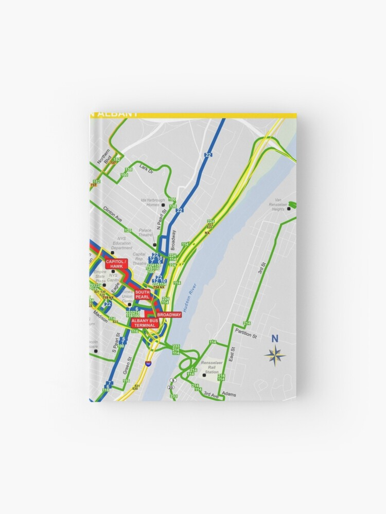 United States of America - Albany - Downtown Map - HD | Hardcover Journal