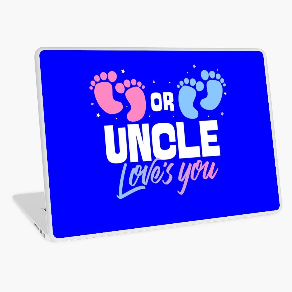 Pink or Blue Uncle Loves You Gender Reveal Laptop Skin