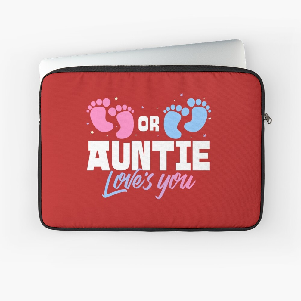 Pink or Blue Auntie Loves You Gender Reveal Laptop Sleeve